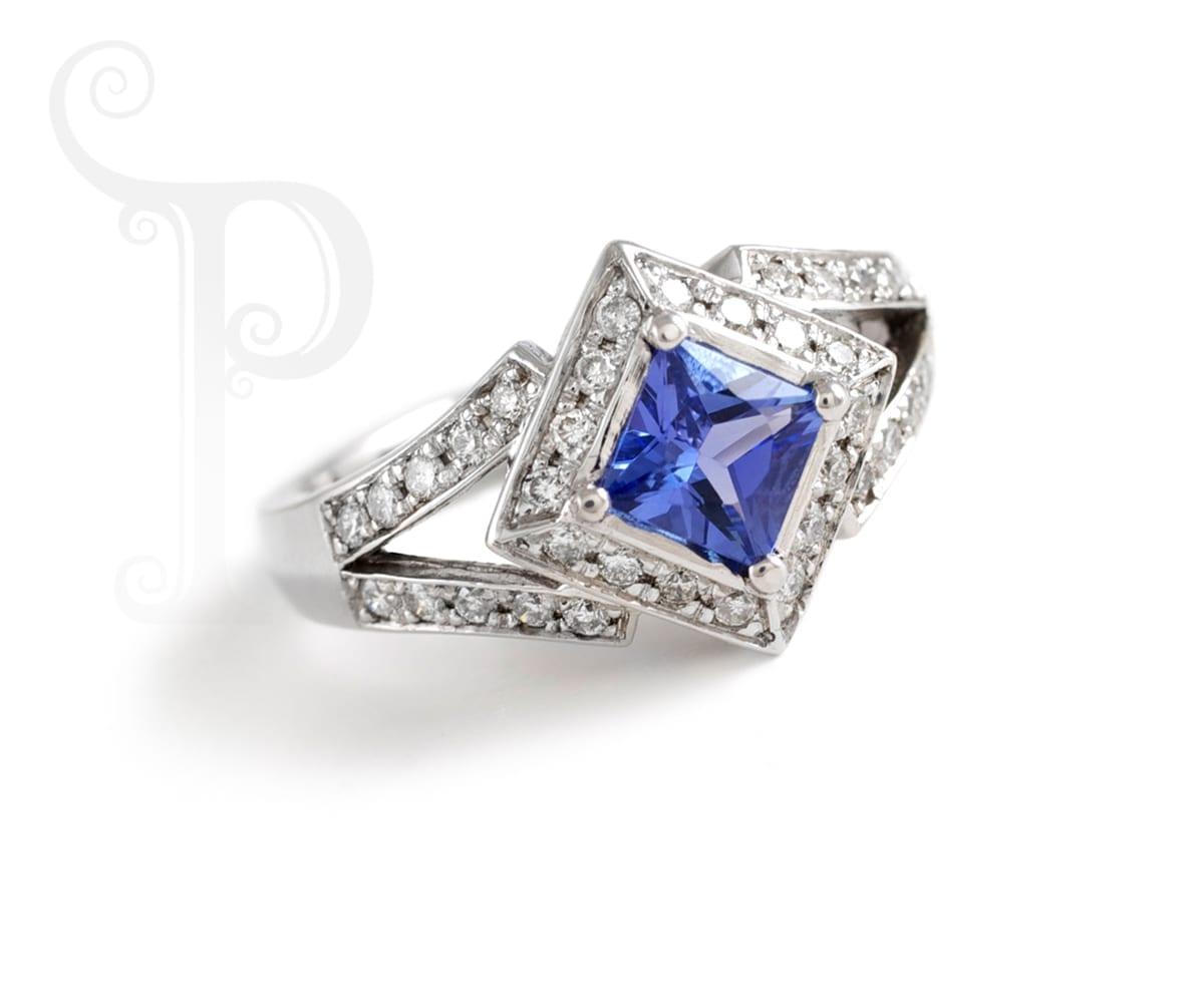princess cut tanzanite ring with diamonds penchant