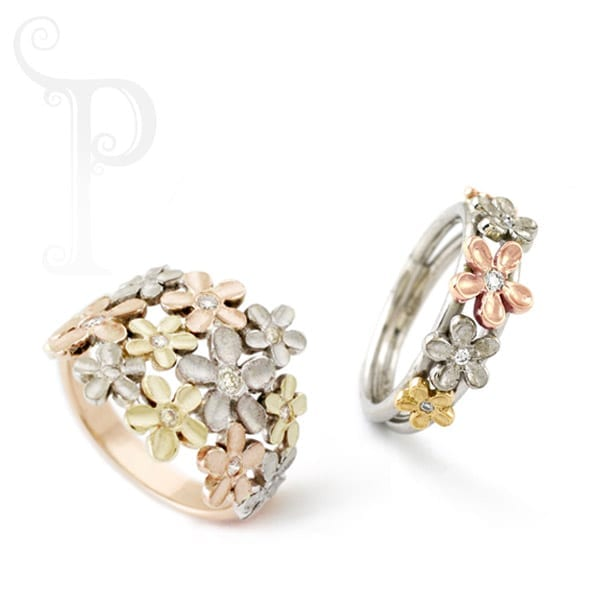rings with small flowers on them