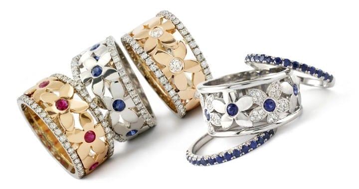 Custom diamond and gold rings