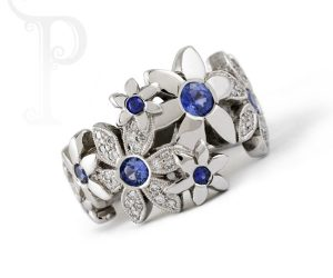 silver and saphire daisy ring
