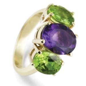 custom coloured gemstone ring